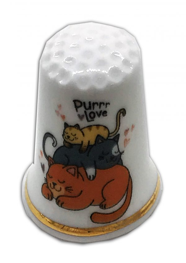 purr love personalised china cat thimble