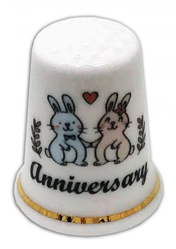 rabbit anniversary personalised china thimble