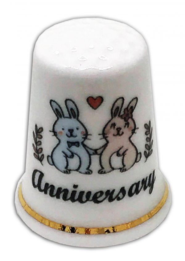 rabbit anniversary personalised china thimble