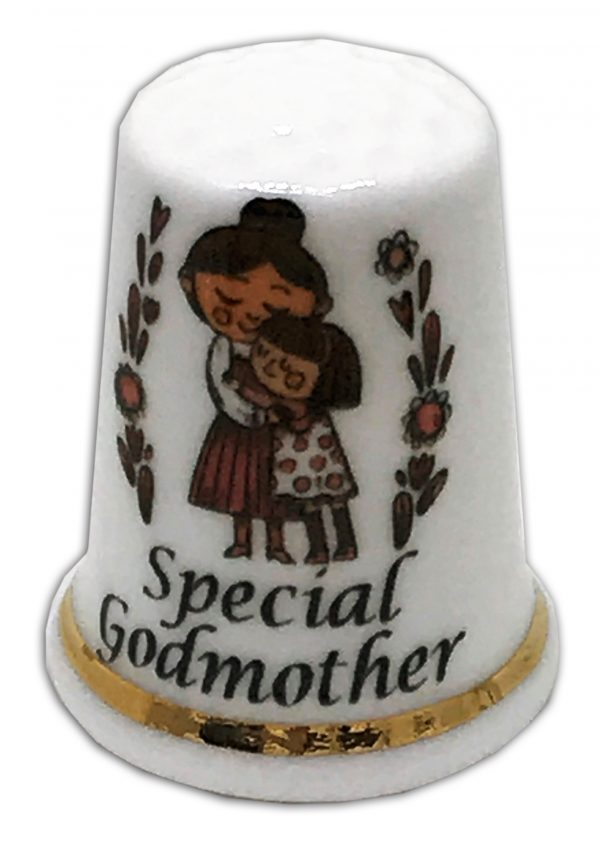 special godmother personalised china thimble
