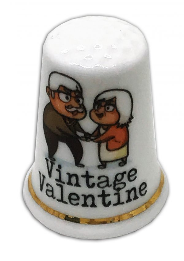 vintage valentine personalised china thimble