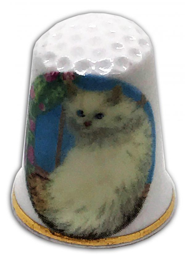 white persian cat personalised thimble