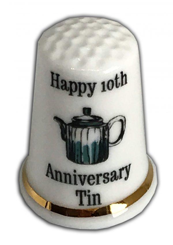10th Anniversary Personalised China Thimble