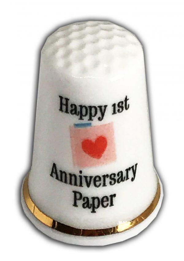 1st Anniversary Personalised China Thimble