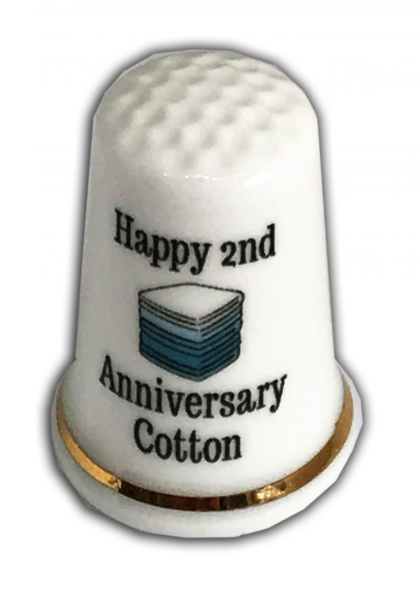 2nd Anniversary Personalised China Thimble