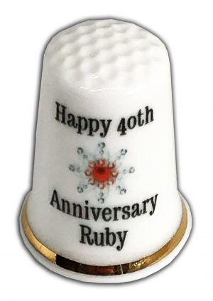 40th Wedding Anniversary personalised china thimble