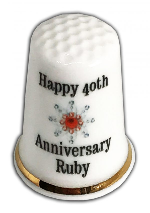 40th Wedding Anniversary personalised china thimble