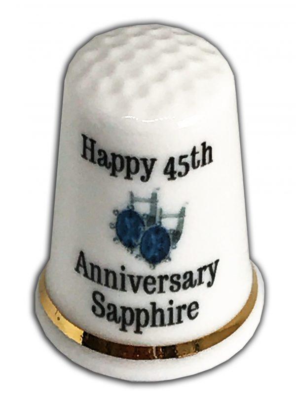 45th Wedding Anniversary personalised china thimble