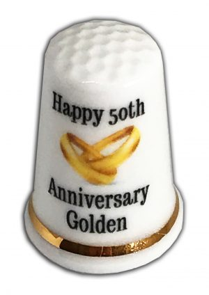 50th Wedding Anniversary personalised china thimble