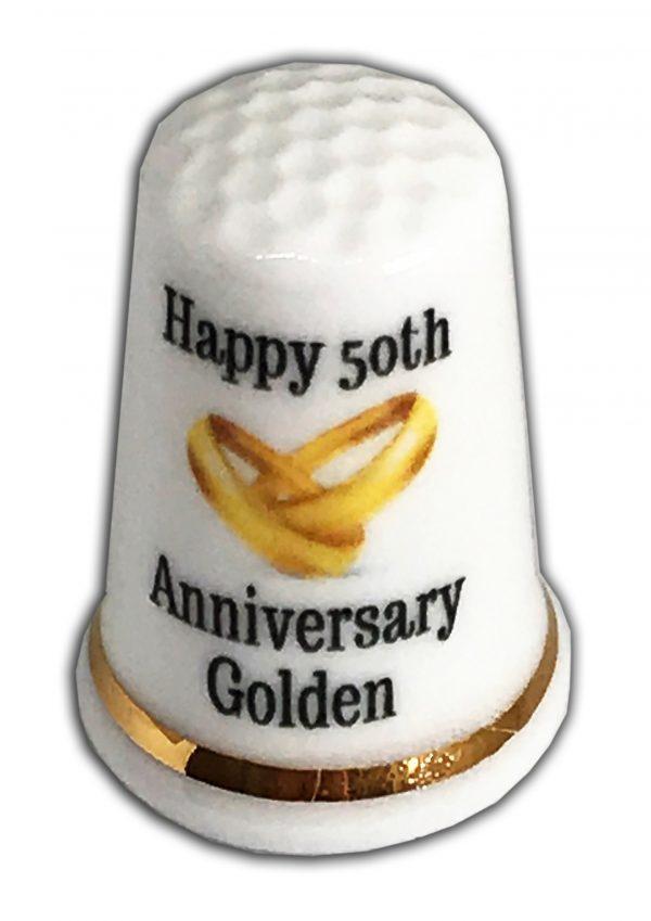 50th Wedding Anniversary personalised china thimble