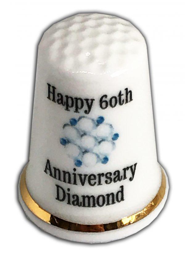 60th Wedding Anniversary personalised china thimble