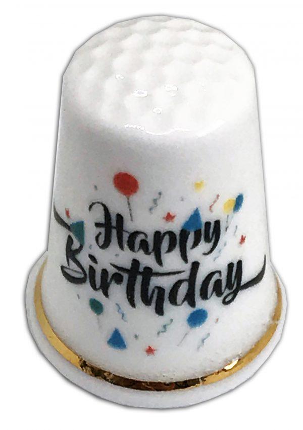 Happy Birthday Personalised Bone China Thimble UK Made