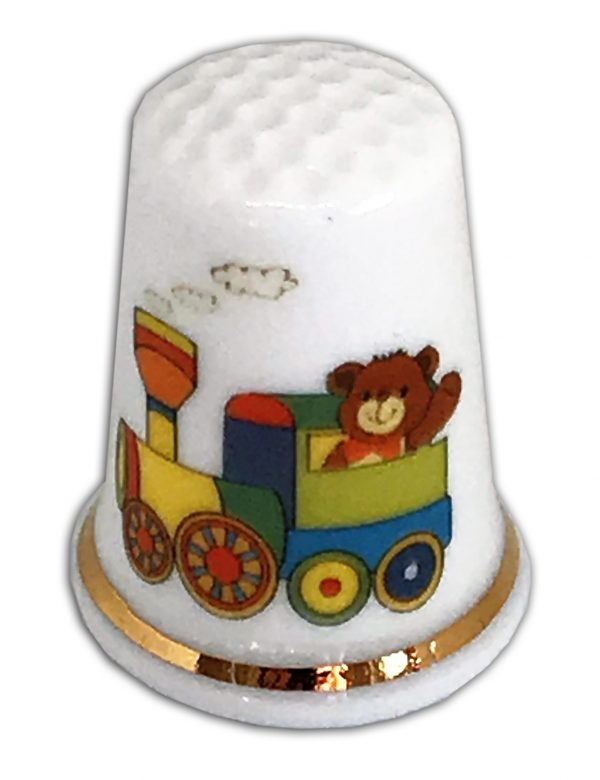 Train Driving Bear Personalised China Thimble