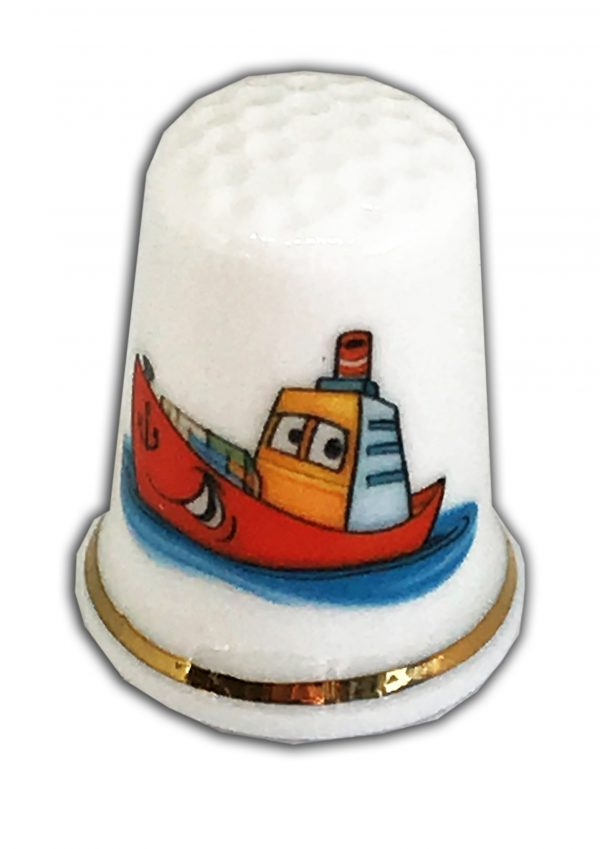 child's boat personalised china thimble