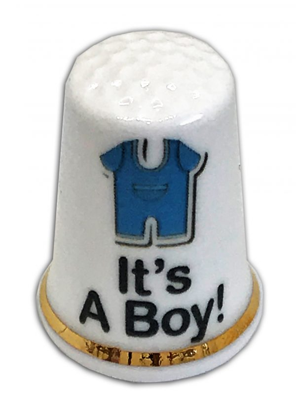 It's A Boy Baby Grow Personalised China Thimble