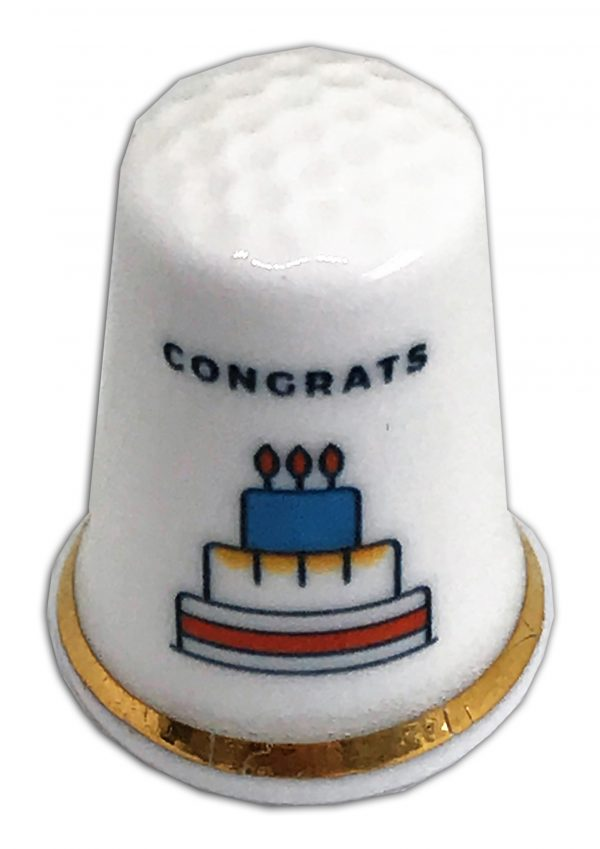 birthday cake congrats personalised china thimble