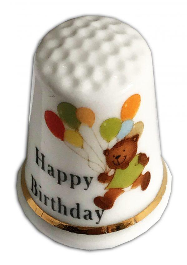 happy birthday bear personalised china thimble