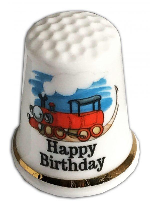 happy birthday train child's personalised thimble