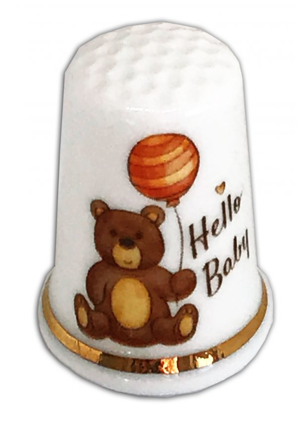 hello baby with balloon personalised thimble