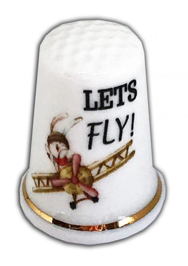 lets fly personalised bunny china thimble
