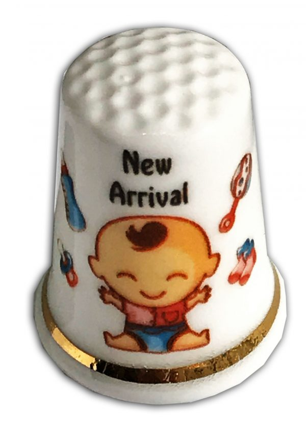 new arrival baby personalised china thimble
