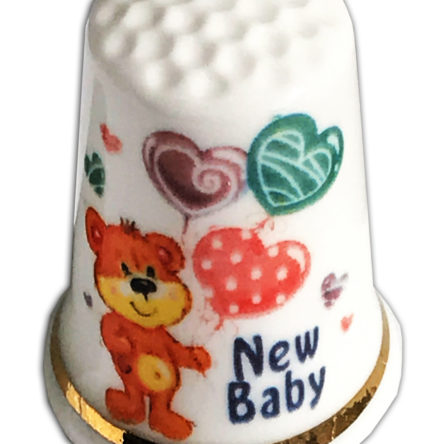 "New Baby Design 28 Personalised ""New Baby"" Bear & Balloons Thimble"