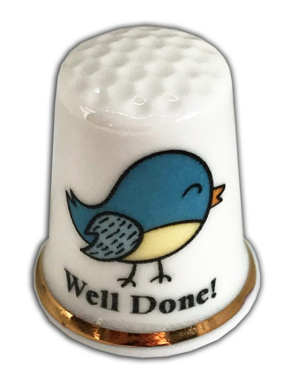 bird well done personalised china thimble