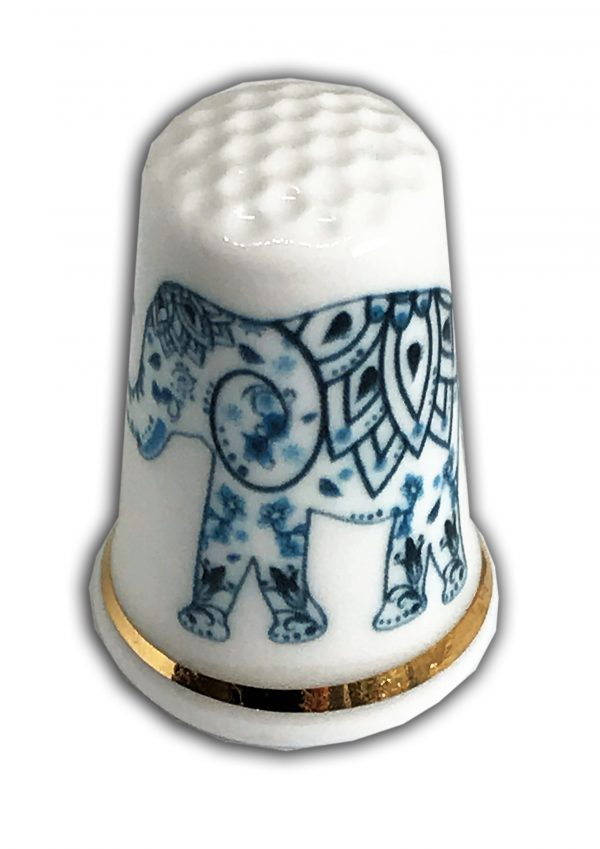 Indian Elephant personalised china thimble