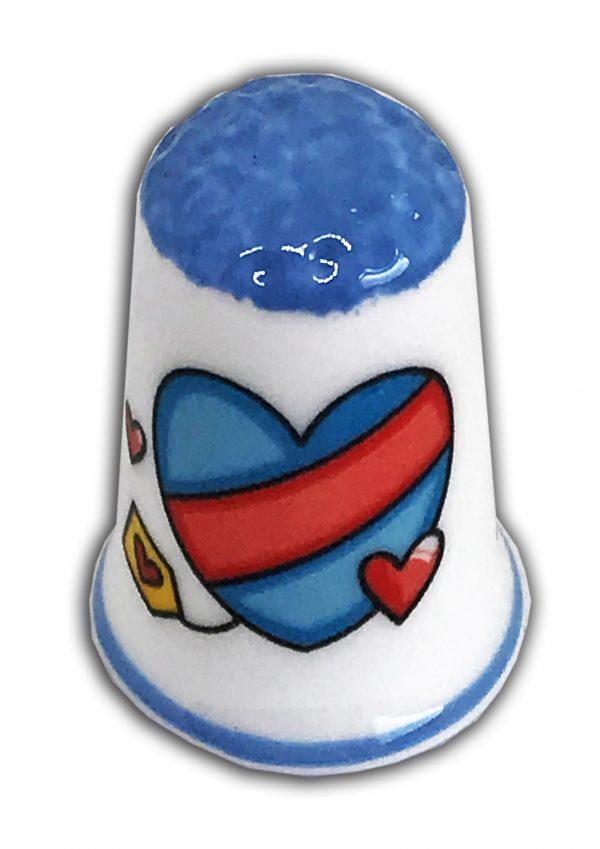 Heart themed romantic china thimble