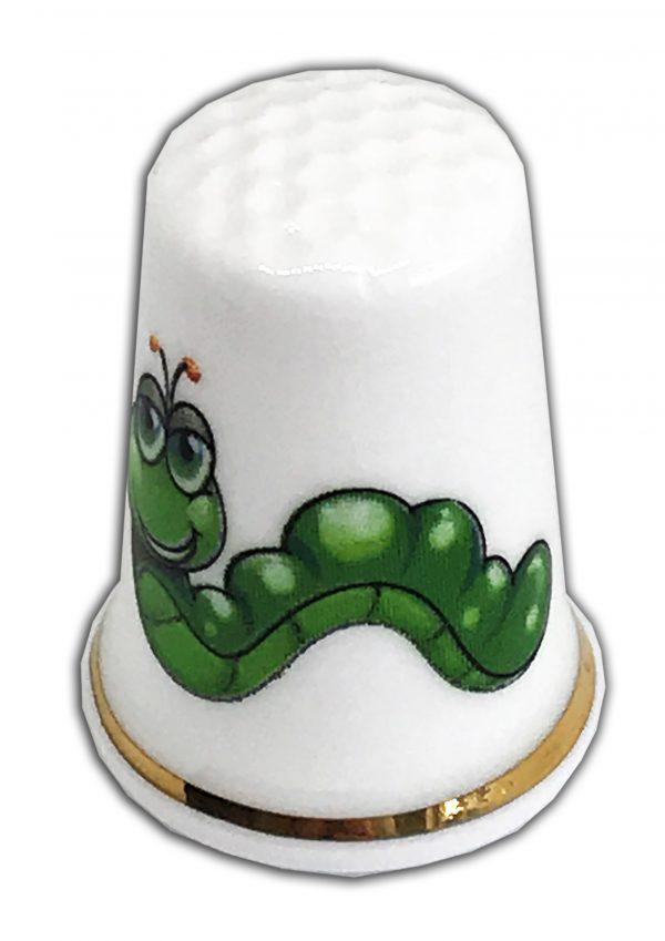 baby caterpillar personalised china thimble