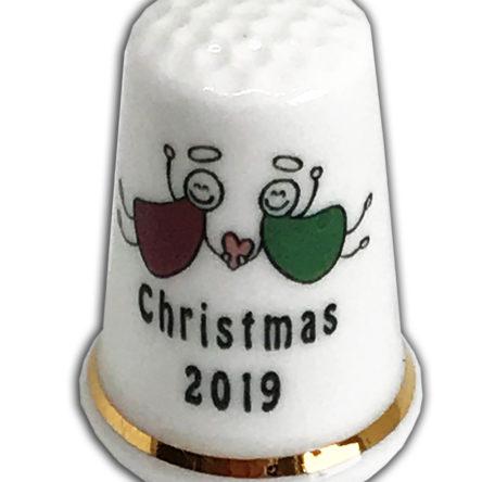 Christmas Angels Personalised China Thimble Design 2