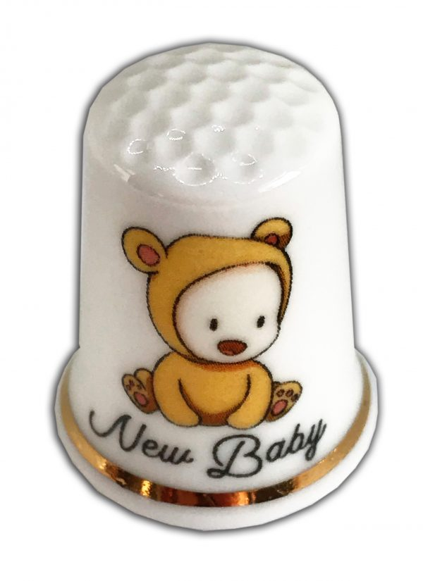 cute baby bear outfit personalised thimble