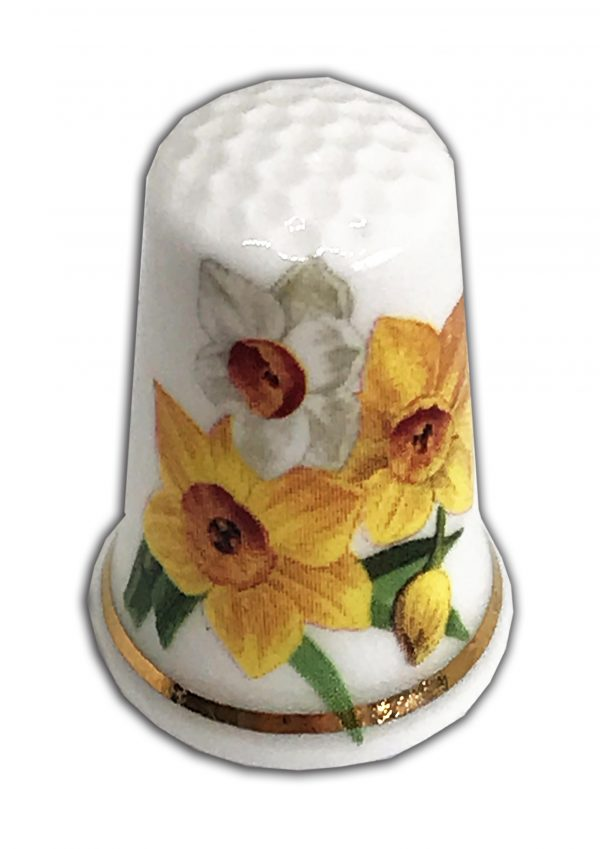 personalised daffodil design china thimble