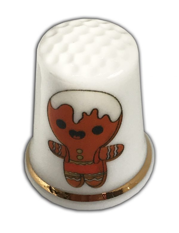 gingerbread personalised china thimble