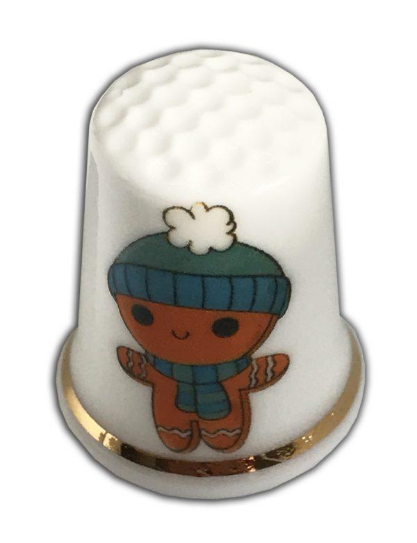 gingerbread personalised china thimble