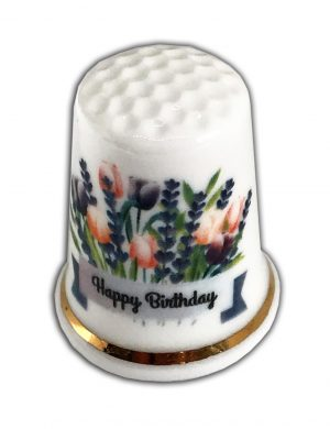 Happy Birthday Tulips and Lavender personalised thimble