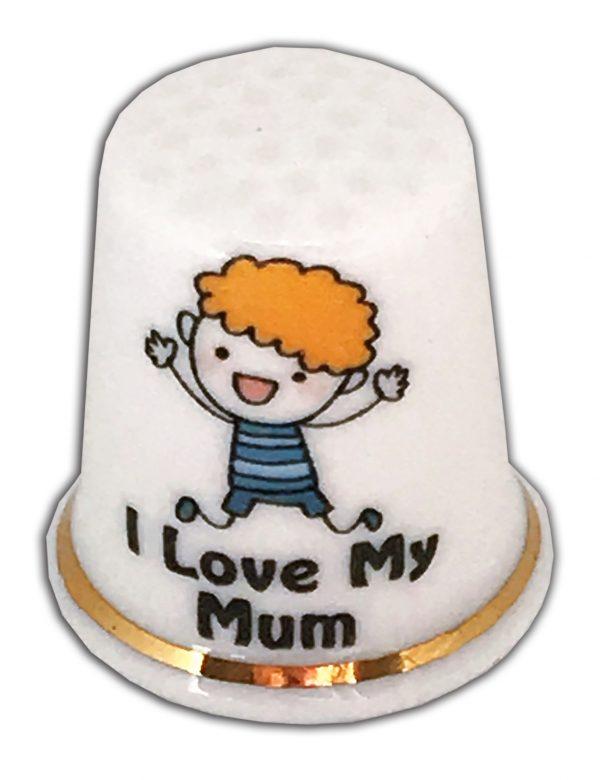 I Love My Mum Personalised China Thimble