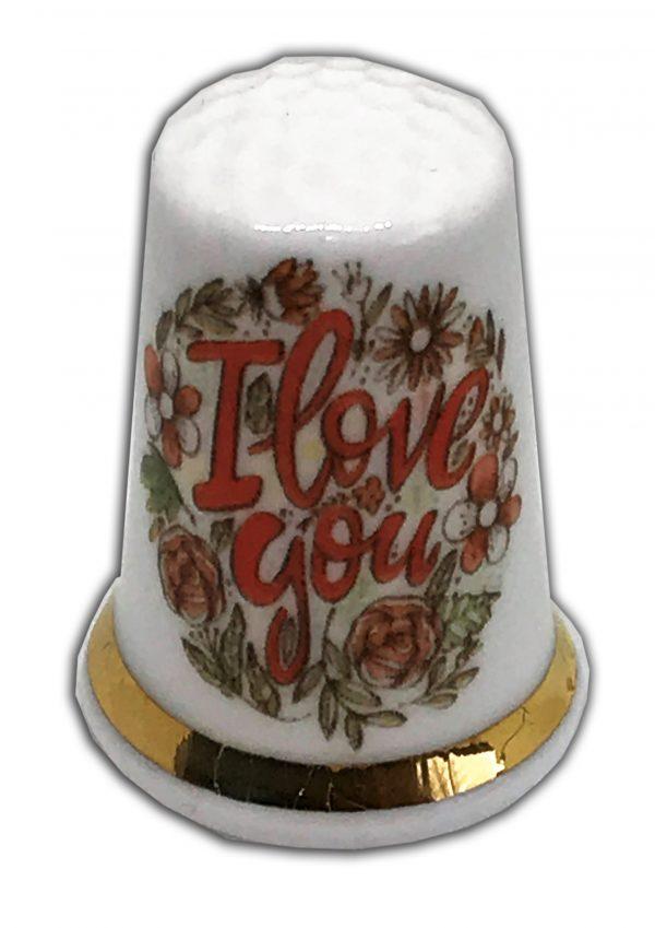 i love you romantic floral thimble