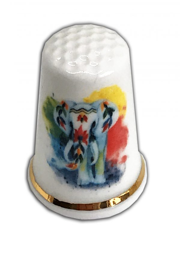 colourful Indian Elephant personalised thimble