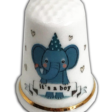 """New Baby Design 31 Personalised """"It's A Boy"""" Elephant Thimble"""