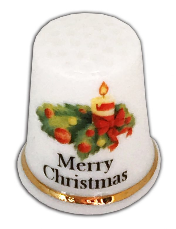 Traditional Candle Merry Christmas Personalised China Thimble