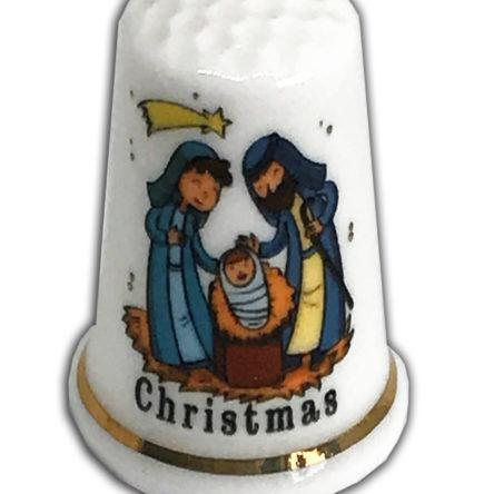 Cute Nativity Personalised China Thimble