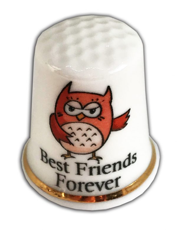 owl best friends forever personalised china thimble
