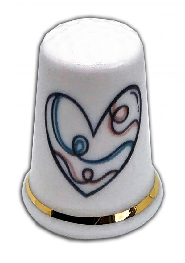 pretty heart personalised china thimble