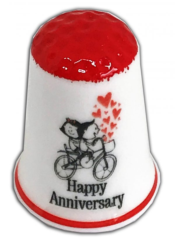 happy anniversary personalised china thimble