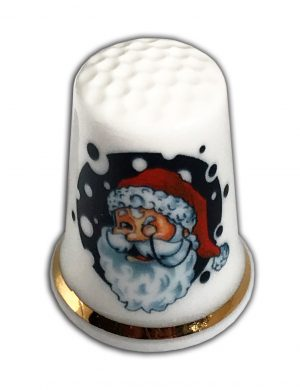 retro santa personalised china thimble