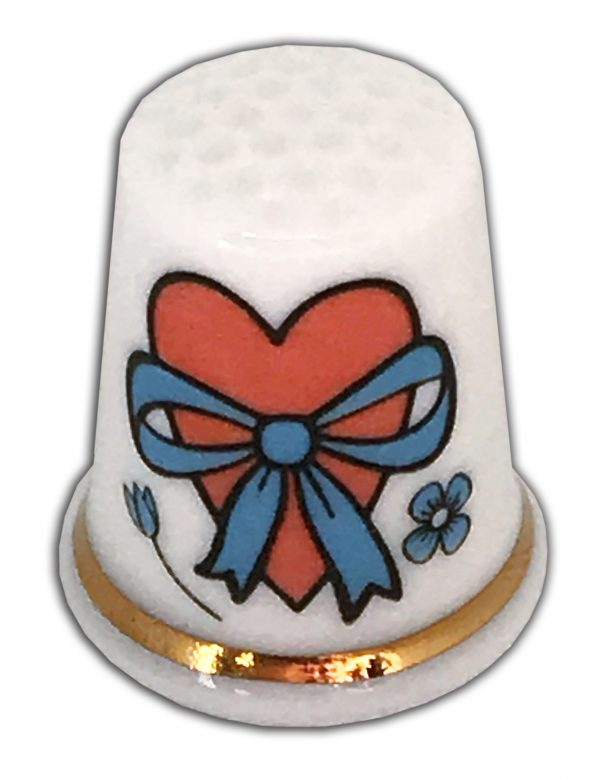 Personalised Heart and Bow china thimble