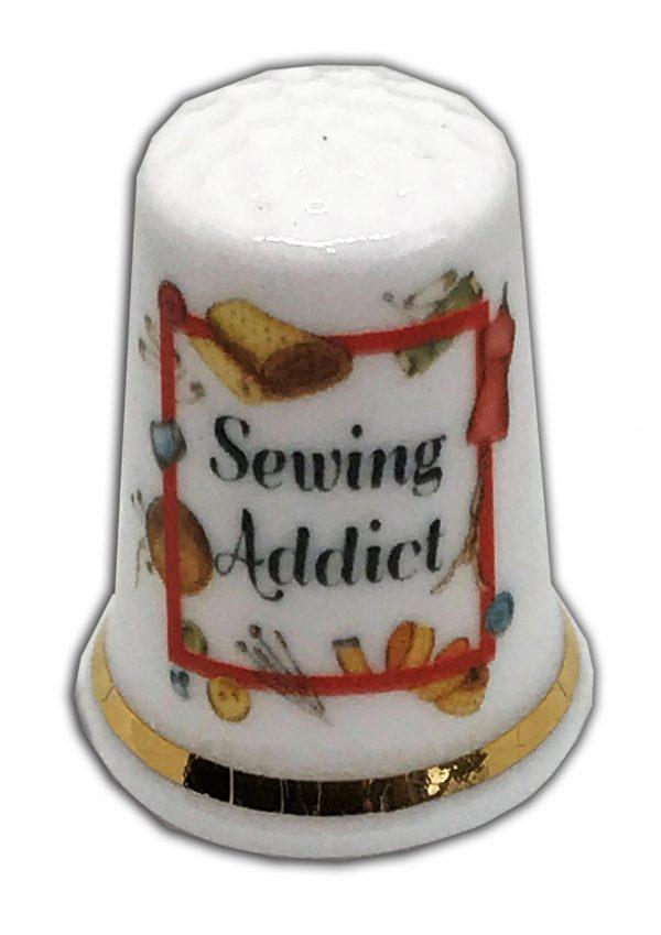 sewing addict personalised china thimble