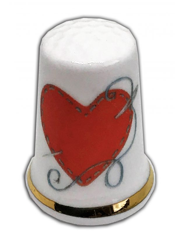 sewing heart personalised china thimble