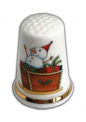 Personalised Christmas Snowman Sleigh Sledge Thimble